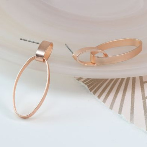 Rose Gold Matt Oval Hoop Earrings