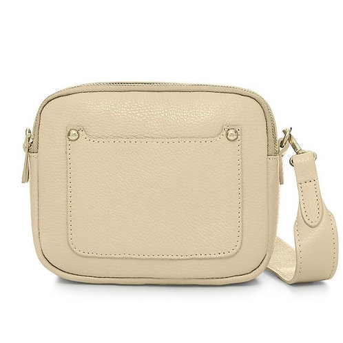 Cream Double Zip Crossbody Bag