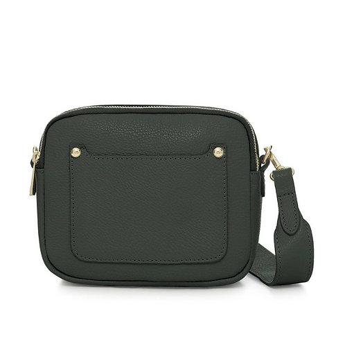 Dark Green Double Zip Crossbody Bag