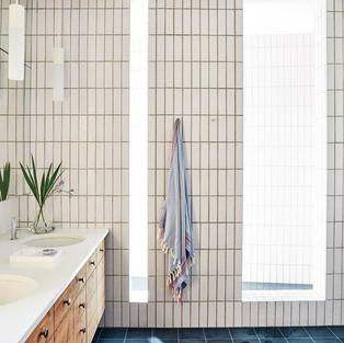 Shelter Island Home - bathroom  with cedar cabinets