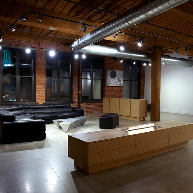 Loft Renovation - Fireplace On, TV down