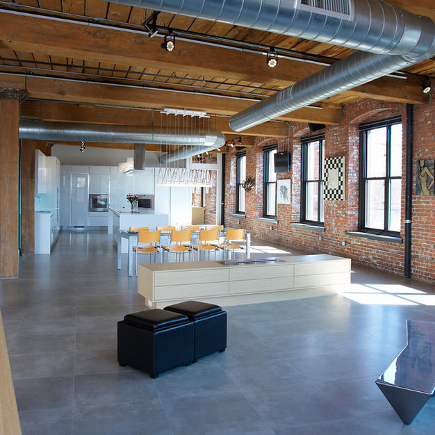 Philadelphia Loft Renovation, fireplace cabinet, off