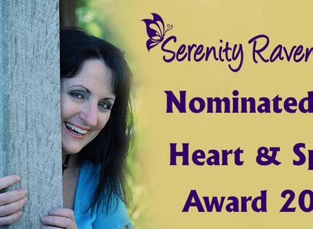 Serenity Raven-wolf nominated for prestigious heart & spirit award 2018