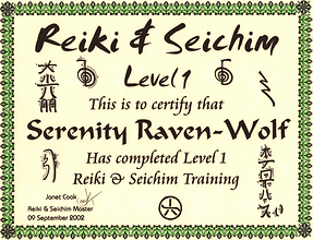 2003: Reiki & Seichim: Level 1 | with Janet Cook