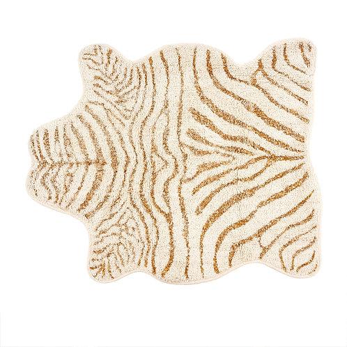 Gold and Cream Tufted Zebra Rug