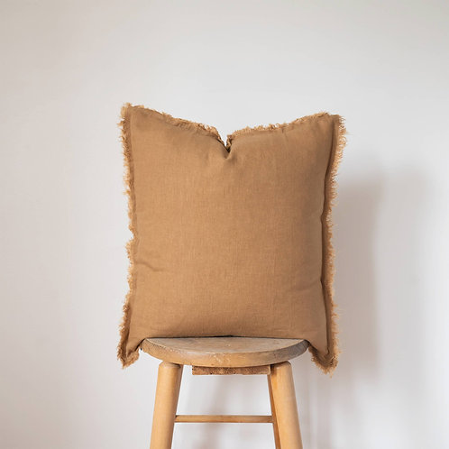 Caramel fringe pillow