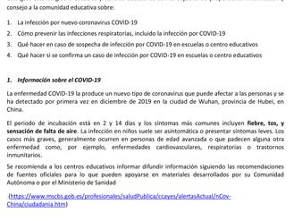 Importante: Guía para escuelas sobre el Corona Virus.