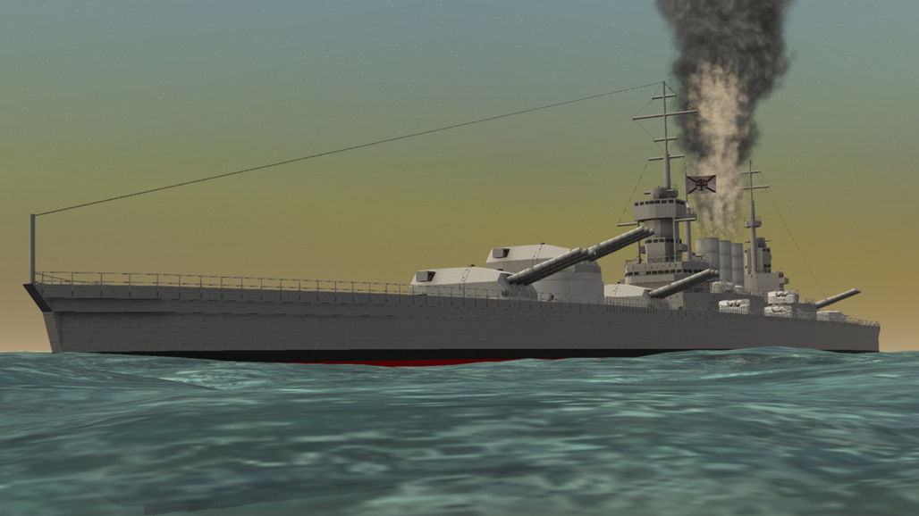 Broadsiding battleship.