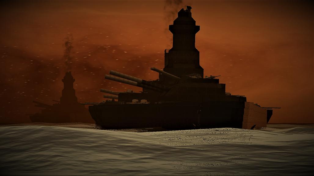 Imposing battleships.