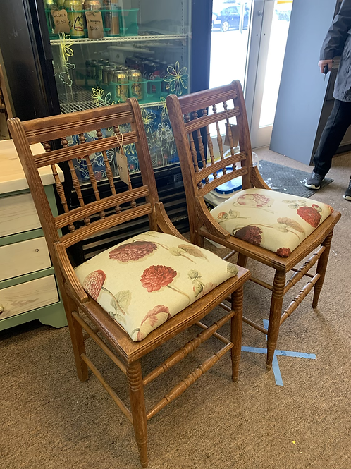 Wooden Chairs w/ Floral Seats