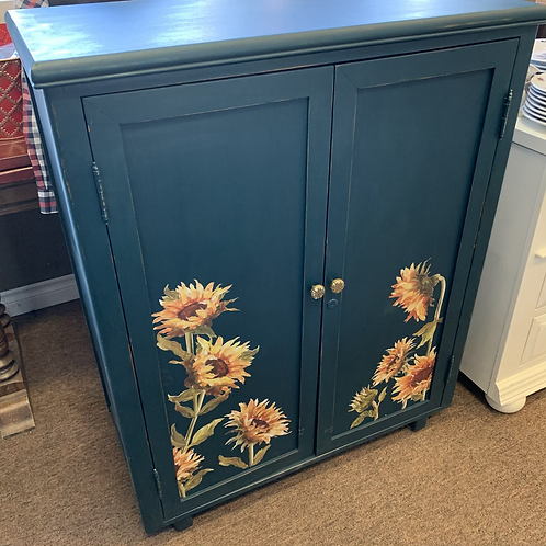 Teal Sunflower Cupboard