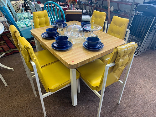 Vintage Retro Yellow Table & Chairs
