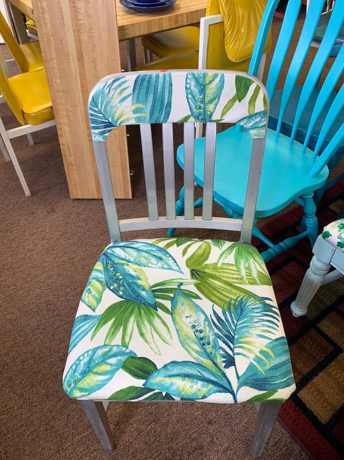 Vintage Metal Chairs with Leafy Fabric