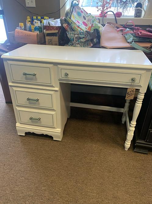 White Desk w/ Blue Accents