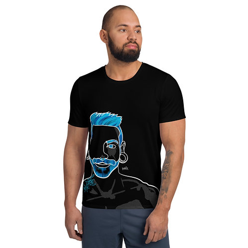 blue and gold faces megaprint athletic t-shirt
