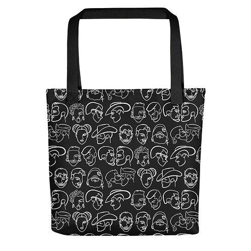 lonniedraws faces pattern beach bag