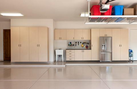 Maple Garage with Overhead Storage