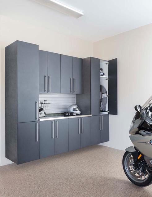 Granite Doors Stainless Counter & Grey Slatwall