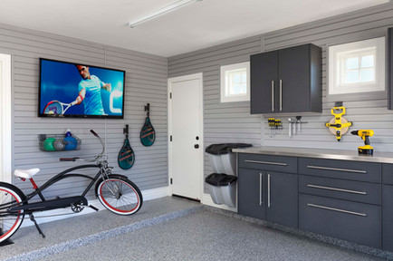 Granite Workbench Stainless Counter Grey Slatwall
