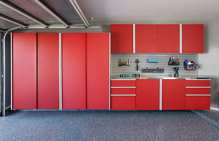 Red Sliding Cabinets Stainless Workbench Grey Slatwall