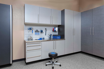 Silver & Pewter Cabinets Stainless Workbench with Gray Slatwall