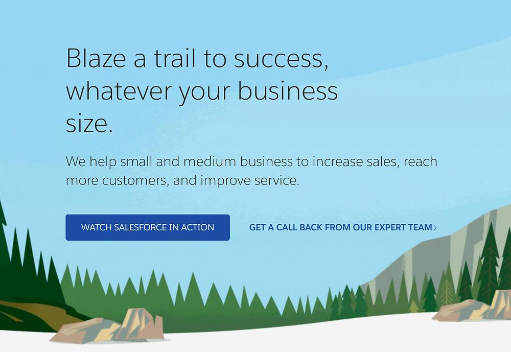 Salesforce screenshot: blaze a trail to success