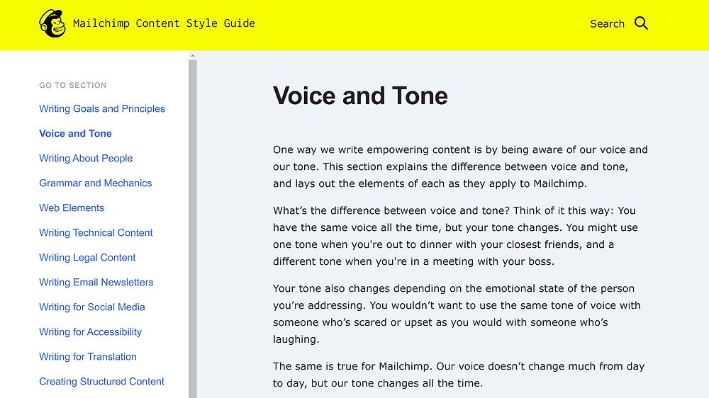 Mailchimp tone of voice screenshot