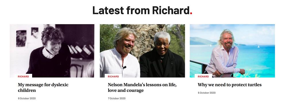 Screenshot Richard Branson's blog