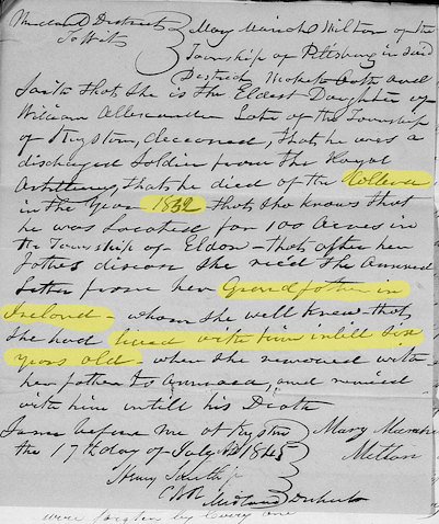 Deposition from Mary Mariah Milton, claiming father William Alexander's land
