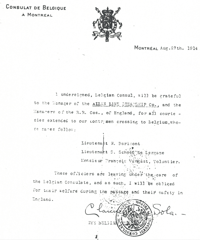 Letter from the Belgian Consulate in Montréal