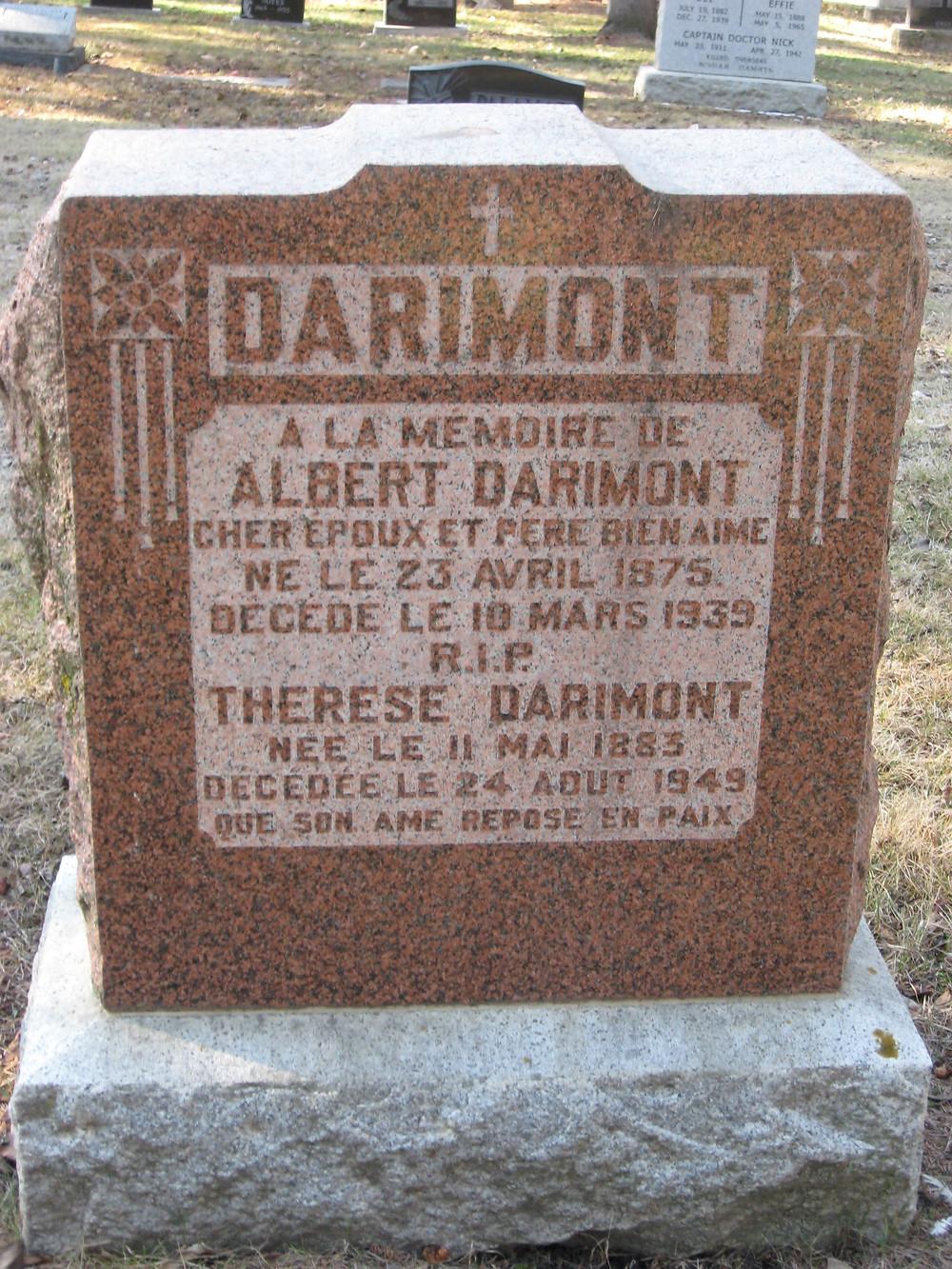 (Nicolas) Albert Darimont tombstone