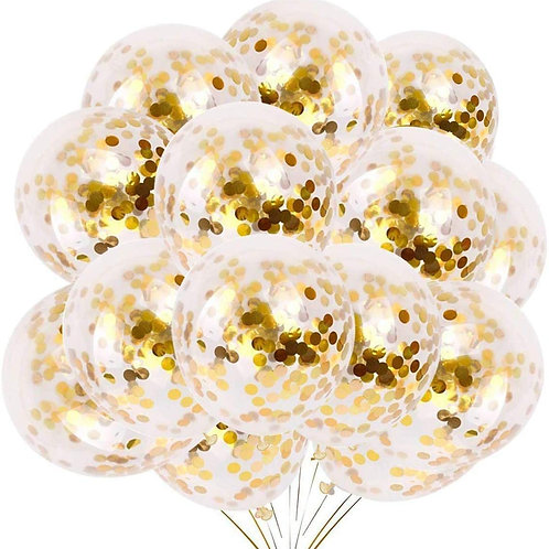A&S HOME Gold Confetti Balloon Set - 24 Pc Balloons