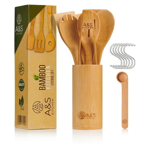 A&S KITCHEN Utensil Set   10 Piece Bamboo Utensil Set