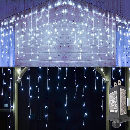 A&S HOME Icicle Lights - Snowfall Effect