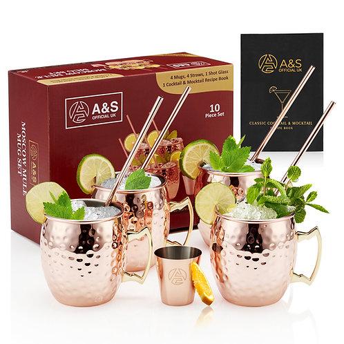 A&S Moscow Mule Mugs Set - 10 Piece Set