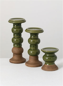 "Candle Holder 10"" Green/Brown"