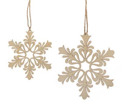 "Wood Snowflake Natural 5""-7"""