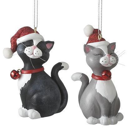 """Santa hat cat ornament 3.5"""""""