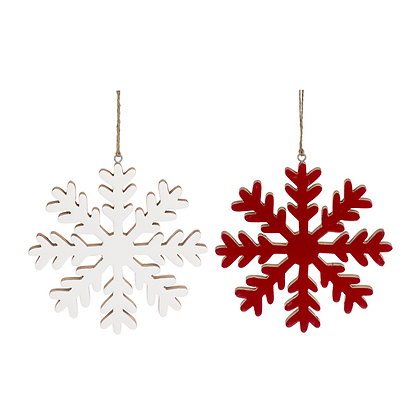 Red or White Painted Snowflake Ornament