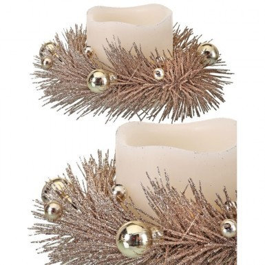 Gold Glitter Pine Candle Ring