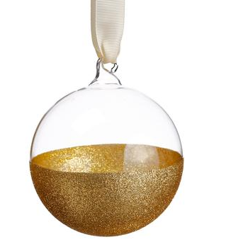 Glittered Glass Ball Ornament Gold Clear