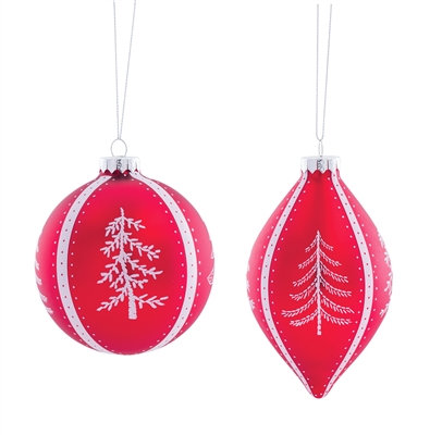 """Glass Ornament Red 4.5"""" - 6"""""""