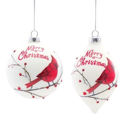 "Cardinal Ornament 5"" Glass"