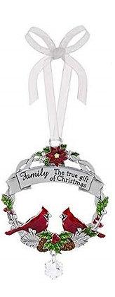 Cardinal Wreath Family Ornament
