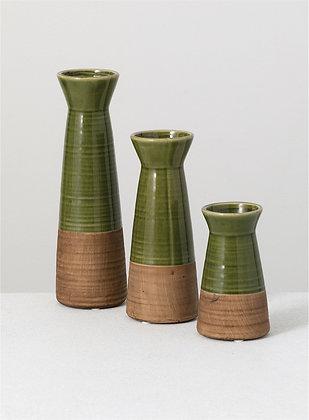 "Vase 10"" Green/Brown"