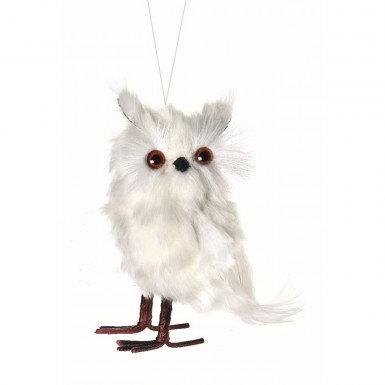 "6"" White Feather Owl Decoration"