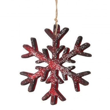 Red/Black Wood Snowflake Ornament