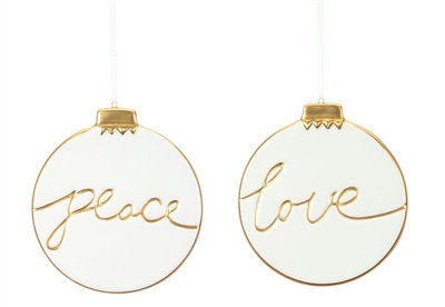 Love/ Peace Ornament 5""