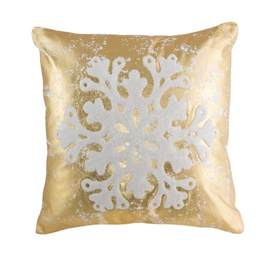 """Pillow with Snowflake Gold 15.5"""""""