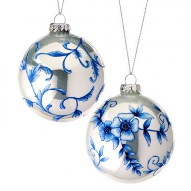 Blue Floral Ball Ornament